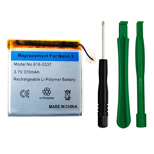 Replacement Battery for Apple iPod Nano 3rd Gen, 3.7V/370mAh Li-Polymer Rechargeable Battery with Opening Pry Tool Kits, Compatible with Model No.616-0337(Nano 3rd Gen)