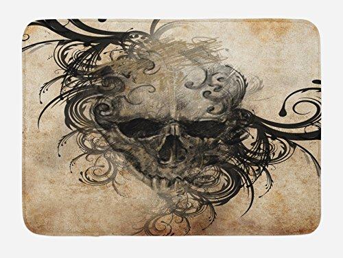 (Lunarable Tattoo Bath Mat, Handmade Artistic Image a Skull Tribal Floral Like Designs Around Print, Plush Bathroom Decor Mat Non Slip Backing, 29.5 W X 17.5 W inches, Black Brown)