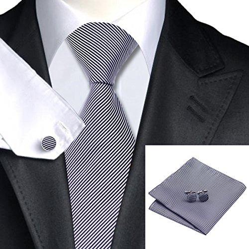 SN-1092 Tie Hanky Cufflinks Sets White /& Black Stripes Mens
