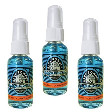 BluntPower Oil Based Concentrated Air Freshener and Oil for Diffuser - 3 Pack of Baby Powder (1.5 Ounce Each)