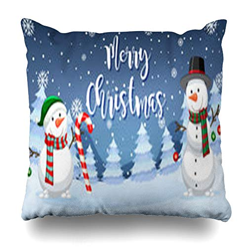 illow Covers Cane Candy Merry Christmas Snowman Clip Holidays Celebrate Celebration Design Home Decor Pillow Case Square Size 16 x 16 Inches Pillowcase ()