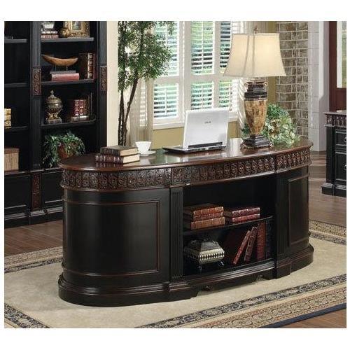 - Rowan Oval Double Pedestal Executive Desk Black and Chesnut