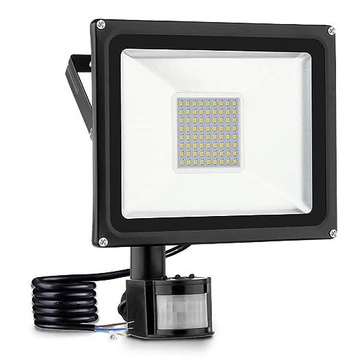 50w Foco led exterior Proyector,Foco sensor de movimiento ,Led Floodlight para Exterior Iluminación Decoración IP 65 ,3000K blanco Cálido,foco para ...