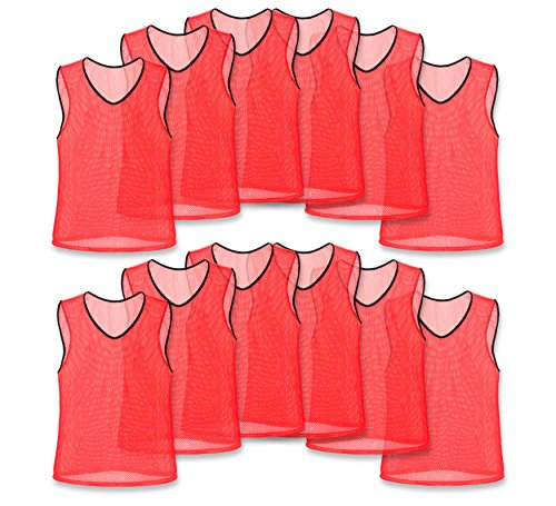 Adult Reds Jersey - Nylon Mesh Scrimmage Team Practice Vests Pinnies Jerseys Bibs for Children Youth Sports Basketball, Soccer, Football, Volleyball (Red, Adult)