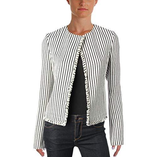 Hugo Boss Womens Komina Fringed Striped Open-Front Blazer B/W 12 Black/White