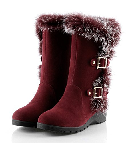 Warm Shoes Strap Aisun Round Calf Heels Mid Boots Low Womens Buckle Red Toe Snow qw77x5Xp