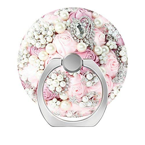 360 Degree Rotation Socket, Cell Phone Pop Grip Stand Works for All Smartphone and Tablets - Flowers Pearls Pink Hue -
