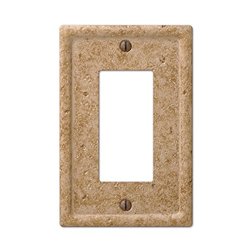 - Tumbled Faux Textured Stone Noce Resin Rocker GFCI Decora Wall Plate