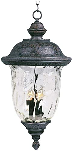 Maxim 3427WGOB Carriage House DC Cast Aluminum Water Glass Outdoor Pendant, 3-Light 180 Watts, 25 H x 13 W, Oriental Bronze
