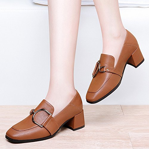 De Muyii Impermeable Con Brown Zapatos Cabeza Moda Cuadrada Mujer Cuero Antideslizante Áspera Nueva wBOpq5B