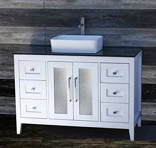 "ELIMAX'S 48"" Bathroom Vanity Solid Wood Cabinet Black Granite Top Ceramic Sink A4821E-BT"