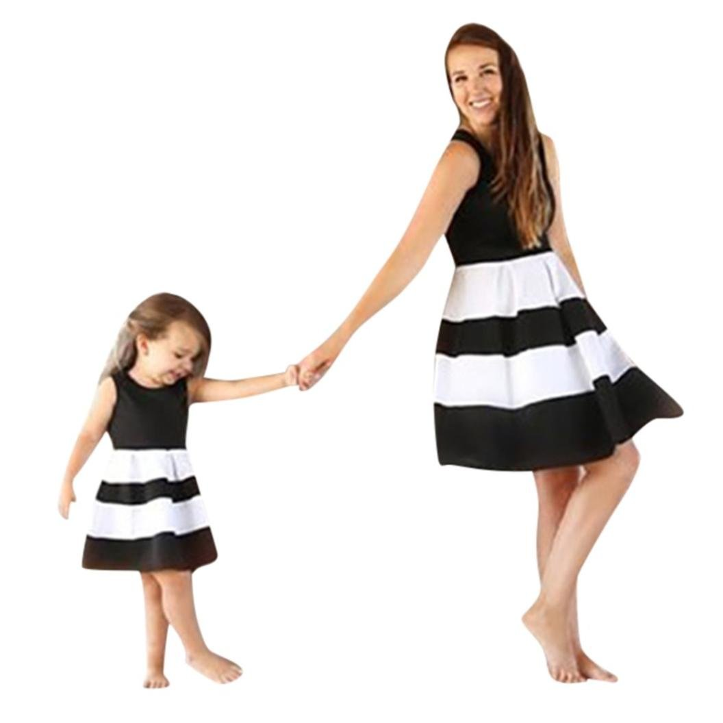 2cccc59065103 Mommy&Me Dress Women Baby Girls Striped Print Princess Dresses Casual  Family Mother Daughter Matching Shirt
