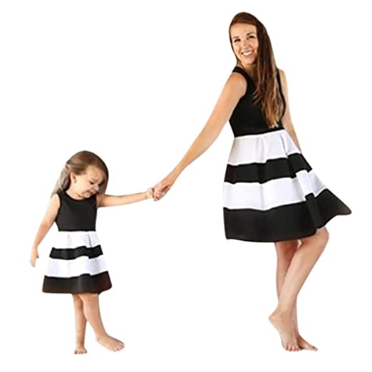 0c71daf886a8e Mommy&Me Dress Women Baby Girls Striped Print Princess Dresses Casual  Family Mother Daughter Matching Shirt
