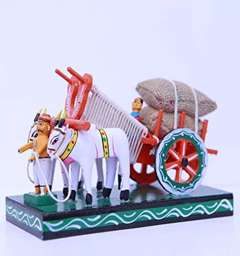 Andhra Hand Crafts Kondapalli Wooden Bullock Cart Small Hand Made Show Piece|Size – (8X3.5X5) Inch