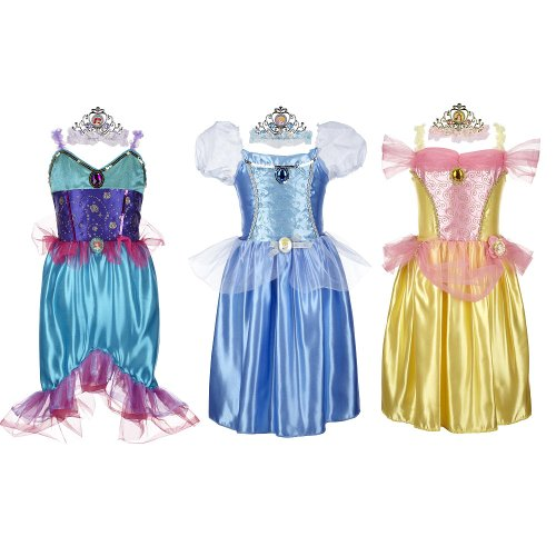 [Disney Princess Deluxe Dress Up Set - Ariel/Cinderella/Belle] (Cinderella Dress Up)
