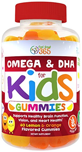 Omega 3 Gummies - Kids Complete Omega Gummy Vitamins from Feel Great 365: Omega 3-6-9 DHA from Algae, Chia & Coconut Oil - Vegan, Fish Free, Supports Brain & Immune Functions, All Natural Children's Supplement.