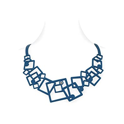 Blue Pearls Collier Femme Geometrique Effet Tatouage En Silicone