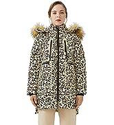 Orolay Chaqueta de Plumón de Leopardo para Mujer Abrigo de Plumón Estampado con Capucha de Piel