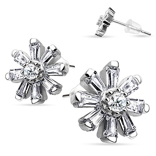 (Rhodium Plated Sterling Silver Baguette and Round Clear CZ Flower Stud Earrings with Rubber Bullet Plug Back Findings, Earring Length of 11MM and Earring Thickness of 0.6MM)