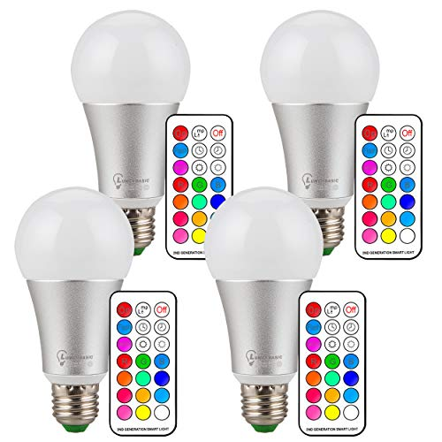 (RGB LED Bulbs with Remote Controller, Lumenbasic RGBW Color Change Light Bulbs 10 Watts Dimmable E26 120 Color LED Bulb)