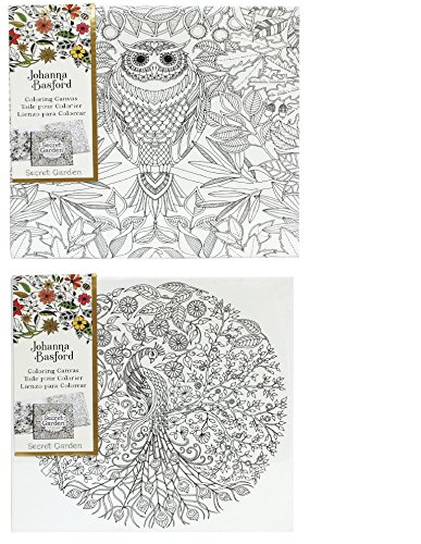 Johanna Basford Canvas Secret Garden Bundle Owl And Peacock 12 X
