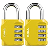 ORIA Combination Lock, 4 Digit Combination Padlock Set, Safety for School, Employee, Gym or Sports Locker, Case, Toolbox, Fence, Hasp Cabinet and Storage, Yellow and 2 Pack