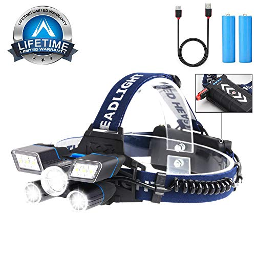 Headlamp Rechargeable [2019 Upgraded] 12000LM Ultra Bright LED Head Lamp with Power Indicator and USB, 9 Modes Waterproof work Headlight Best Headlamps for Hard Hat, Camping Hiking Hunting Outdoors