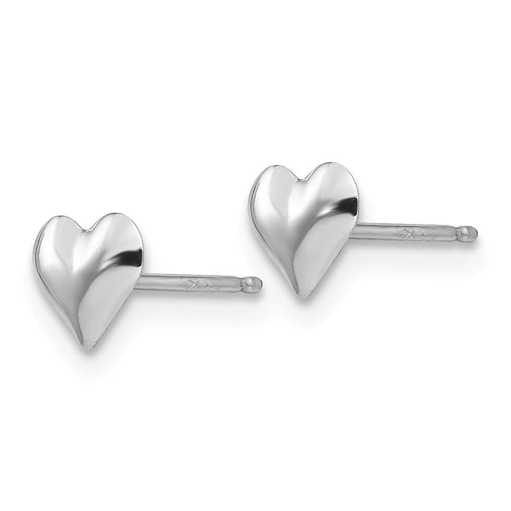 14kt White Gold Madi K Small Puffed Heart Earrings