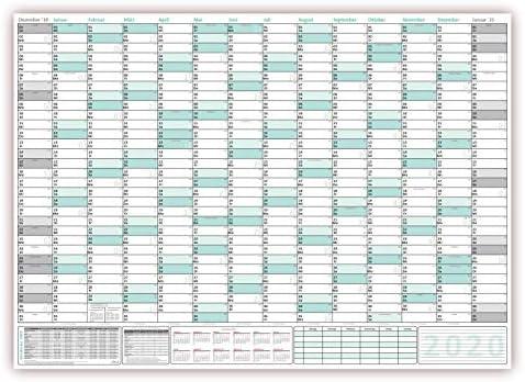 XXXL Wandkalender 2020 - Sehr groß im DIN B0 Format (1,4 x 1,0 m) mit extra großen Tageskästchen, Schulferien, Jahresvorschau 2021 (gerollt) Farbe türkis