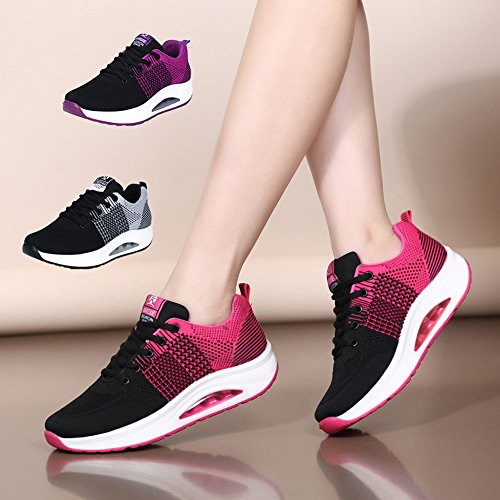 Women's Trainers Sports Running Shoes Knit Mesh Casual Sneaker Wedge Platform Walking Shoes Size Rose-black MB7Y0uHX