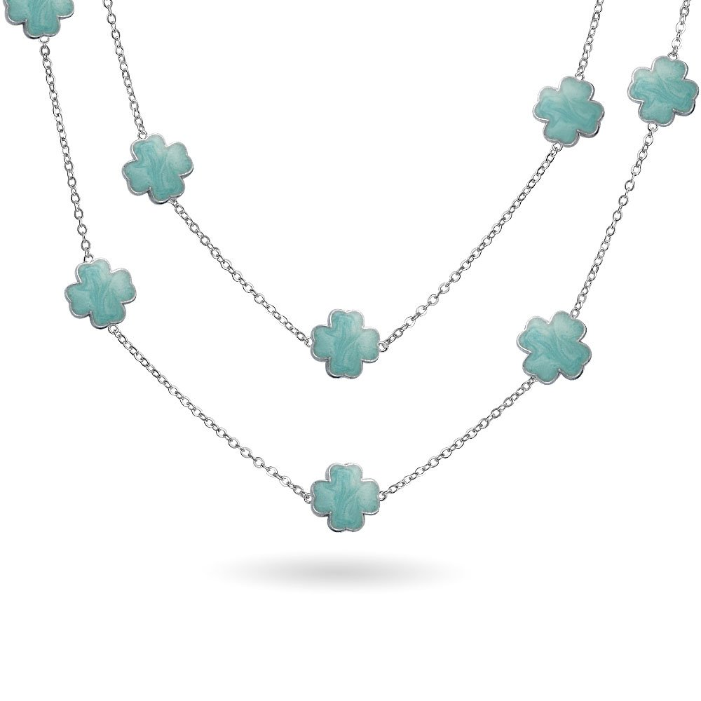 Aqua Blue Clover Flower Long Silver Plated Brass Station Tin Cup Chain Wrap Layer Necklace for Women 42 Inch