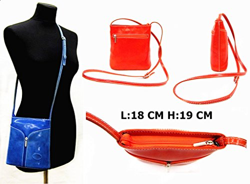 BHBS Bolso Pequeño para Dama tipo Bandolera en Auténtica Piel italiana 18x20x6 cm (LxAxP) Azul Marino - Marrón Oscuro