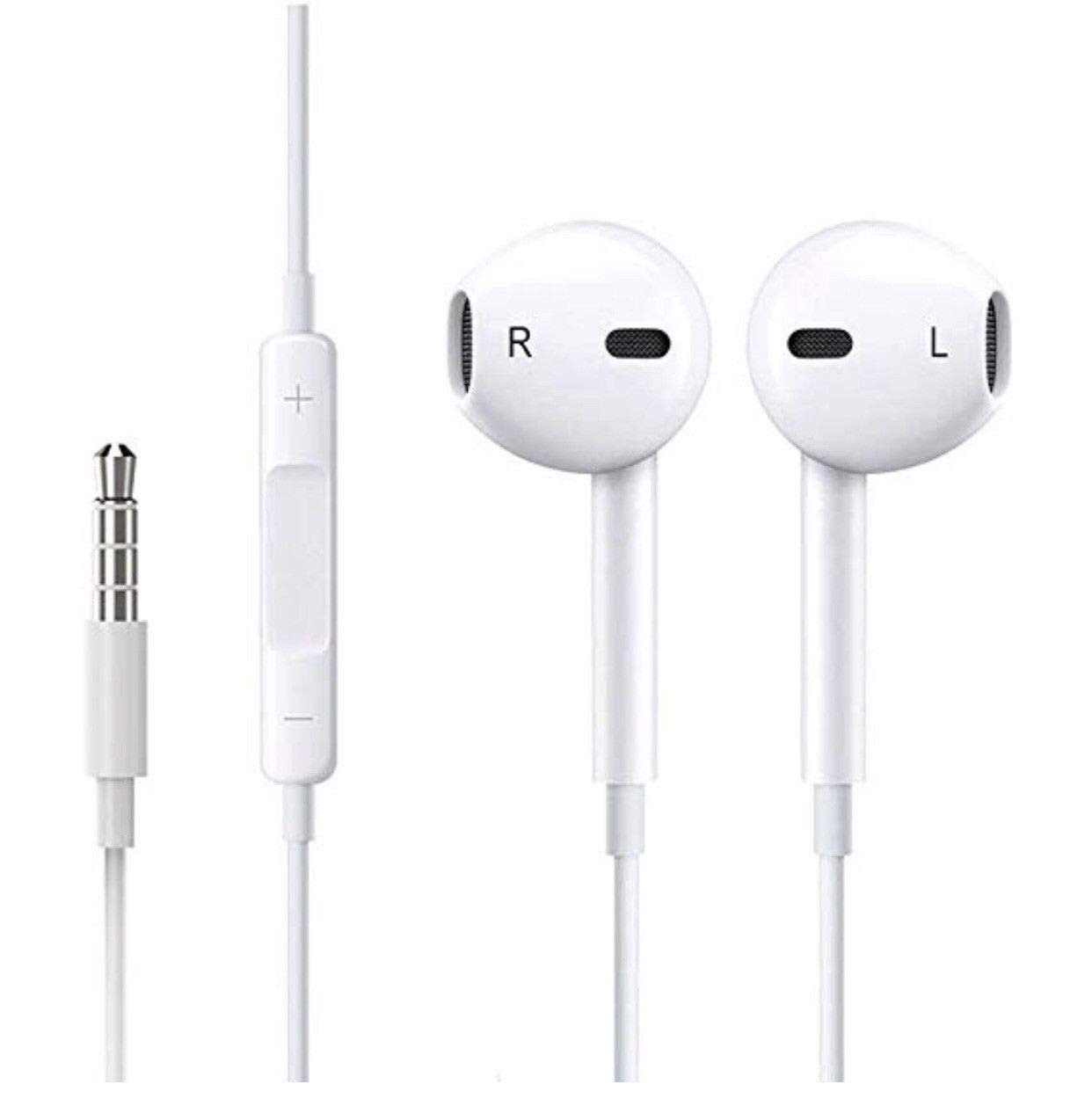 VideoPlanetItalia Auricolari Cuffie con cancellazione del Rumore in-Ear Bassi Potenti ad Alta Definizione Jack Stereo 3.5 mm per iPhone 5 6 6s 7 8 XR XS X iPad iPod Samsung LG HTC