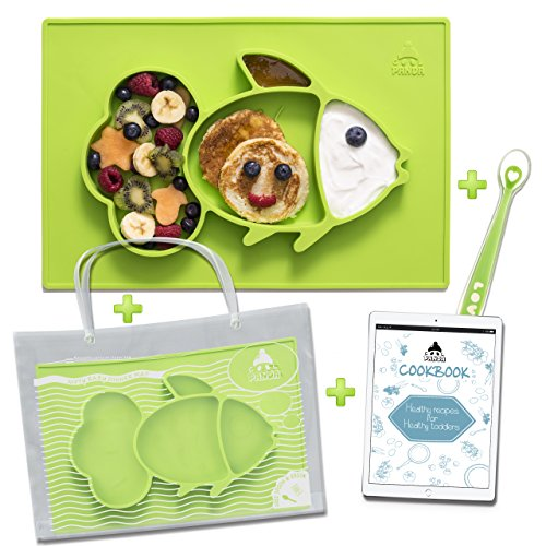 Cool Panda Premium Silicone Baby Placemat Set for Kids & Toddlers, Reusable Travel Bag, Non Slip Toddler Plates, Large Size: 15