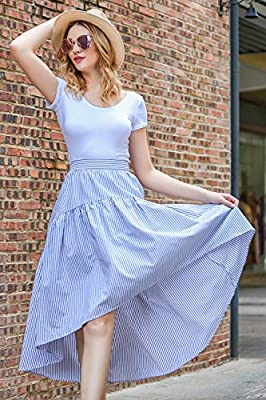 Zeagoo Women's Striped High Low Hem Long Skirt Pleated Casual Skirt for Vacation