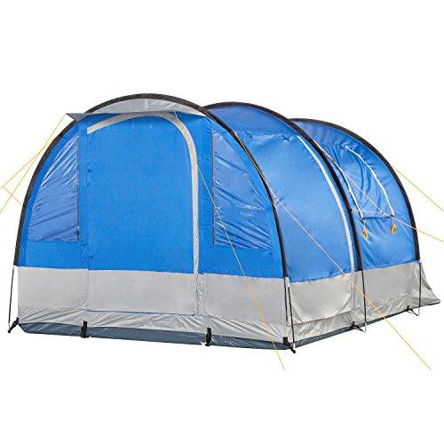 campfeuer tunnelzelt blau grau 4 personen campingzelt. Black Bedroom Furniture Sets. Home Design Ideas