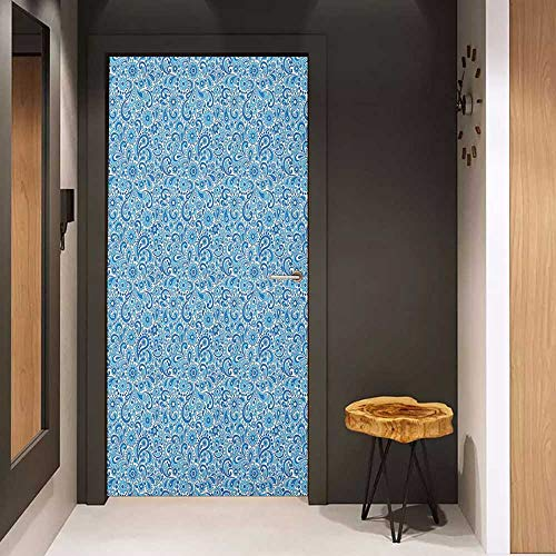 Onefzc Glass Door Sticker Decals Paisley Moroccan Old Fashioned Ottoman Mosaic Flowers Leaves Arabesque and Shabby Door Mural Free Sticker W36 x H79 Violet Blue ()