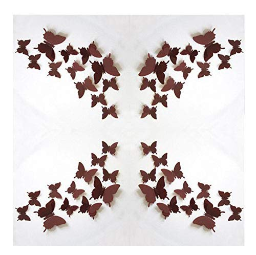 ZCHING 3D Butterfly Removable Mural Stickers DIY Art Decor Decal Crafts for Kids Bedroom Living Room Nursery Decoration,24 pices (coffee) ()
