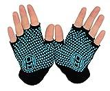 Mato & Hash Yoga Pilates Fingerless Exercise Grip Gloves - Black/Scuba Blue