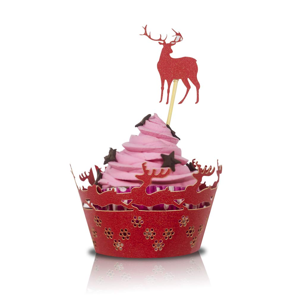 Christmas Deer Design Cupcake Toppers And Wrappers 60pcs Artistic Bake Cake Paper For Xmas Party Decoration Birthday Diy Cup Cake Birthday Party Supplies Red Amazon Com Grocery Gourmet Food