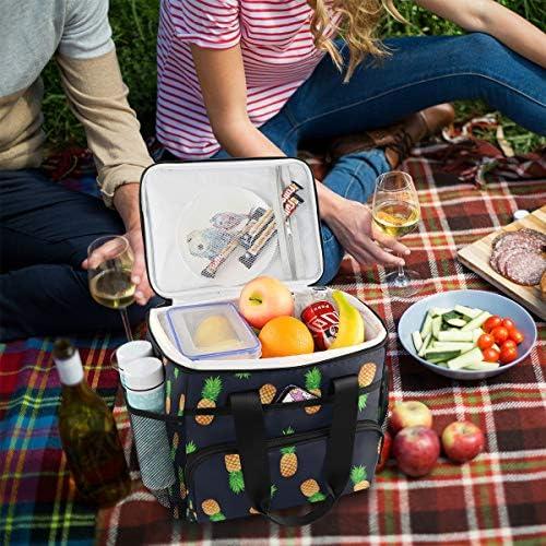 Bardic - Borsa termica da picnic con motivo di ananas, 24 lattine (15 l