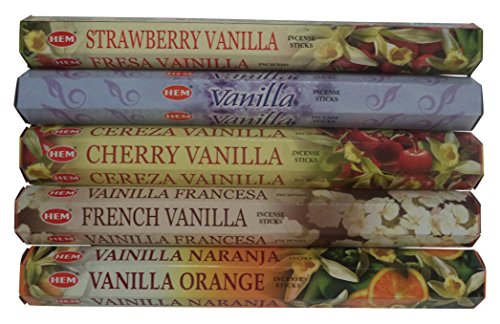 Incense Tropical (HEM Vanilla Incense Sticks, 100 count, 5-Pack (20/pack))