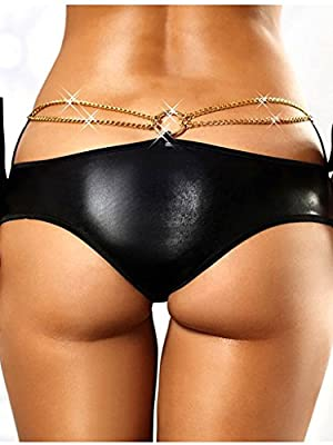 Unique and Lovely Women's Leather-Like Sexy Boyshort Panty