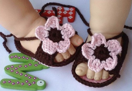 MKPLY Baby Newborn Infant Girls Brown Pink Crochet Knit Socks Crib Casual Shoes Prewalker 0-12M (Dark Brown)