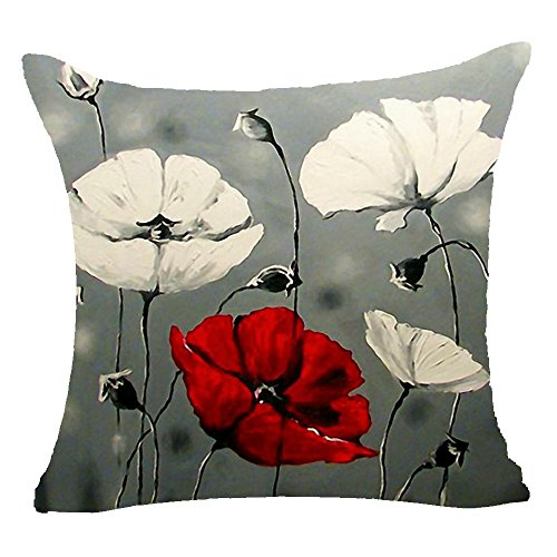 Cotton Linen Square Decorative Throw Pillow Case Cushion Cover Enchanting Beautiful Red Poppy Hibiscus Flowers Gift Anniversary Day Present 18