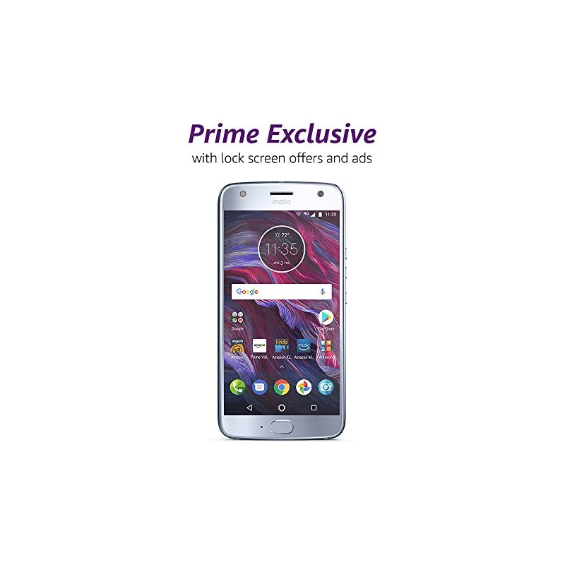 Moto X (4th Generation) - with hands-free Amazon Alexa – 32 GB - Unlocked – Sterling Blue - Prime Exclusive - with Lockscreen Offers & Ads