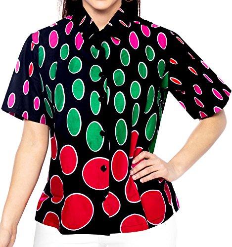 La Leela suave de algodón ligero 3 en 1 aloha en forma relajada botón el Caribe para estar en casa de la mujer abajo blusa más salón del tamaño de la camisa hawaiana de color rosa rosado
