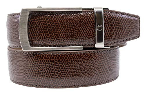 Camden Dress Belt Series Reptile Leather Ratchet Belts with Automatic Buckle for Men - Nexbelt Ratchet System Technology (Brown) (Reptile Buckle Belt)