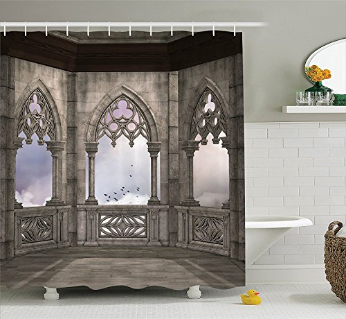 [Gothic Decor Collection Medieval Stone Balcony with Curvings Graphic Design Mystic Middle Age Legend Story Print Polyester Fabric Bathroom Shower Curtain Grey] (Cute Gothic Girl Halloween Costumes)