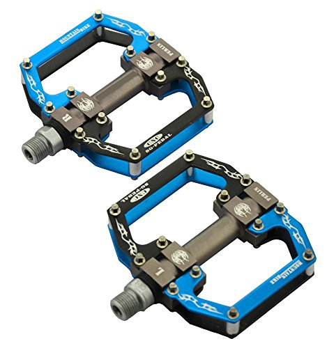 1 Mtb Pedals (Onedayshop 1 Pair Aluminum Alloy CNC Bearing Bike Bicycle Flat Pedals MTB BMX Road Bicycles Pedals 9/16'' (Blue))
